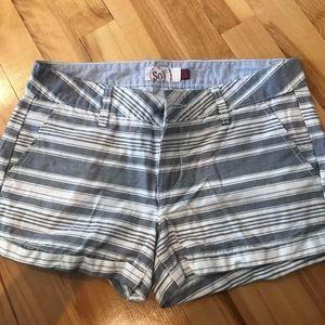 SO White & Gray Striped Shorts